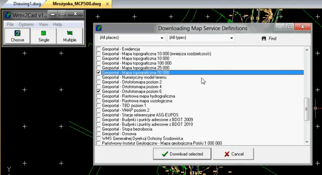 Wms2Cad - downloading definitions