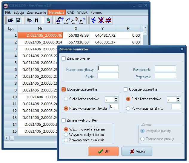 GeoView-zanumerowanie